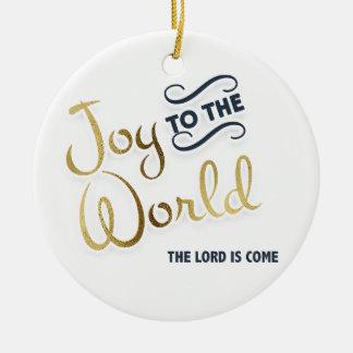 Ornement Rond En Céramique La joie de bleu marine et d'or au monde le