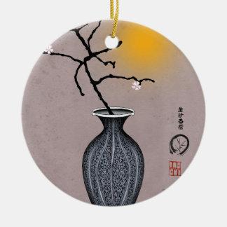 Ornement Rond En Céramique la lune élégante des fernandes et la fleur de 2