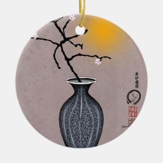 Ornement Rond En Céramique la lune élégante des fernandes et la fleur de 3