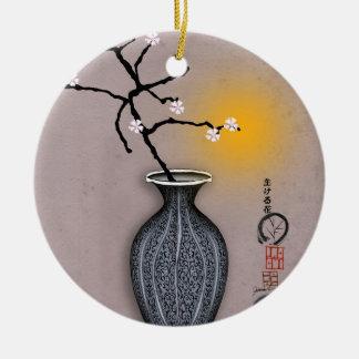 Ornement Rond En Céramique la lune élégante des fernandes et la fleur de 7
