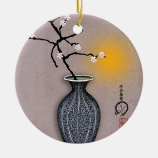 Ornement Rond En Céramique la lune élégante des fernandes et la fleur de 8