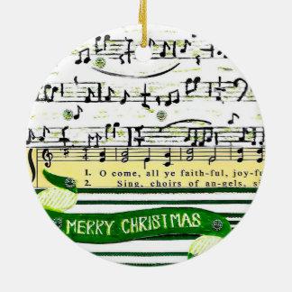 Ornement Rond En Céramique La musique note l'ornement d'arbre de Noël