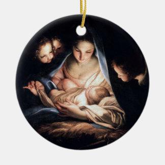 Ornement Rond En Céramique La nuit sainte - décor rond d'arbre de Noël