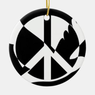 Ornement Rond En Céramique La paix a plongé dans le signe de paix