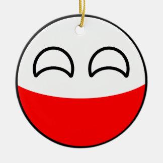 Ornement Rond En Céramique La Pologne Geeky tendante drôle Countryball