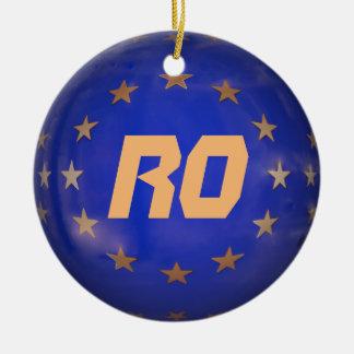 Ornement Rond En Céramique La Roumanie E.U. Christmas Ornament