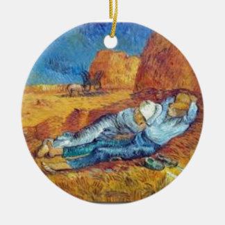 Ornement Rond En Céramique La Sieste de Vincent Van Gogh (Noon)