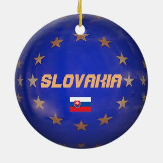 Ornement Rond En Céramique La Slovaquie E.U. Christmas Ornament