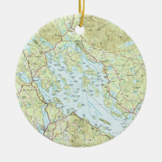 Ornement Rond En Céramique Lac Winnipesaukee Map (1986)