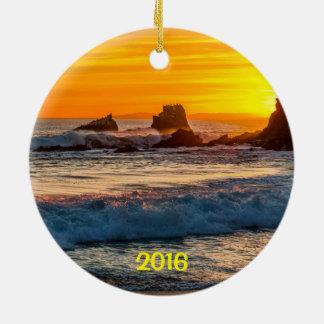 Ornement Rond En Céramique Laguna Beach de roche de joint