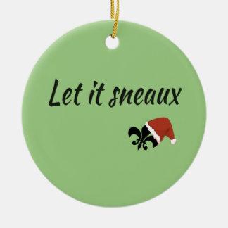 Ornement Rond En Céramique Laissé l'ornement de Noël de Sneaux Louisiane