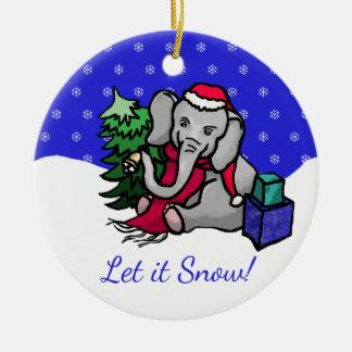 Ornement Rond En Céramique Laissez lui neiger éléphant coloré mignon de Père