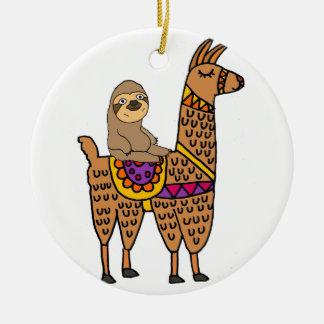 Ornement Rond En Céramique Lama drôle frais d'équitation de paresse