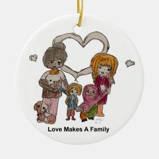 Ornement Rond En Céramique L'amour fait une famille par Ainsley--Ornement