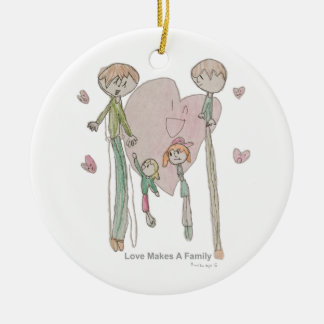 Ornement Rond En Céramique L'amour fait une famille par Annika--Ornement