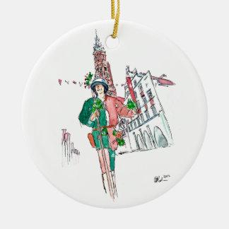Ornement Rond En Céramique Landshut épousant la garde 1475 de ville