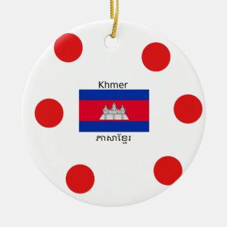 Ornement Rond En Céramique Langue de Khmer et conception de drapeau de
