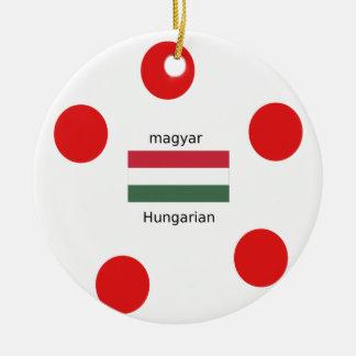 Ornement Rond En Céramique Langue de la Hongrie et conception de drapeau