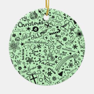 Ornement Rond En Céramique Langues de multiple de Joyeux Noël
