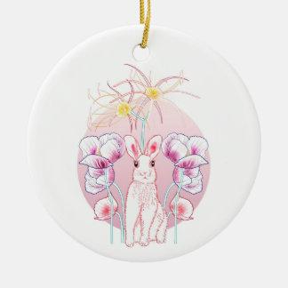 Ornement Rond En Céramique Lapin rose, pivoines et lys araignée