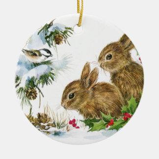 Ornement Rond En Céramique Lapins vintages de Noël