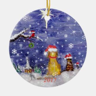 Ornement Rond En Céramique L'aquarelle 2017 de Noël des animaux