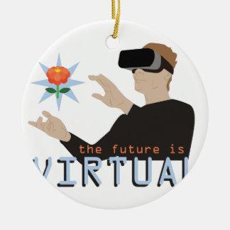 Ornement Rond En Céramique L'avenir est virtuel