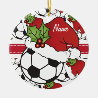 Ornement Rond En Céramique Le ballon de football | de Noël personnalisent