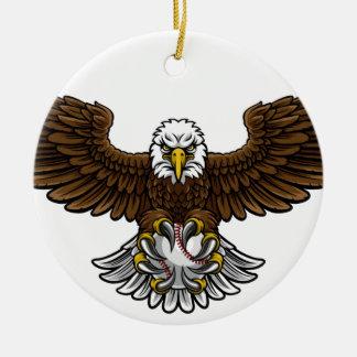 Ornement Rond En Céramique Le base-ball d'Eagle folâtre la mascotte