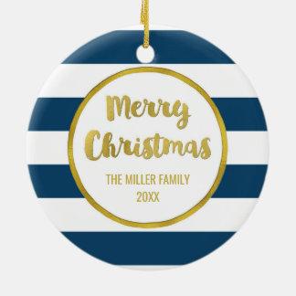 Ornement Rond En Céramique Le bleu marine barre la photo de Joyeux Noël d'or