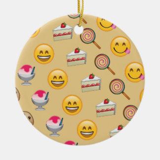 Ornement Rond En Céramique Le bonbon traite Emojis