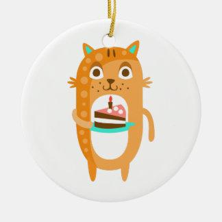 Ornement Rond En Céramique Le chat avec la partie attribue le Sti génial