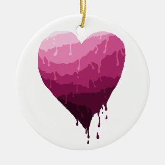 Ornement Rond En Céramique Le coeur de Valentine