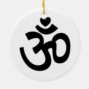 Ornement Rond En Céramique Le coeur OM signent - l'ornement de yoga
