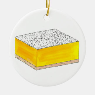 Ornement Rond En Céramique Le dessert de pâtisserie de barre carrée de citron