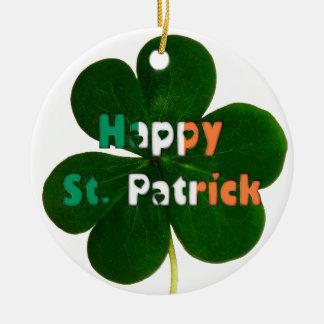 Ornement Rond En Céramique Le drapeau irlandais heureux de St Patrick colore