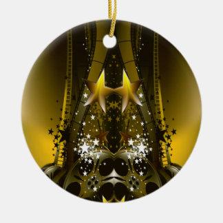 Ornement Rond En Céramique Le film d'or tournoie et les étoiles d'un