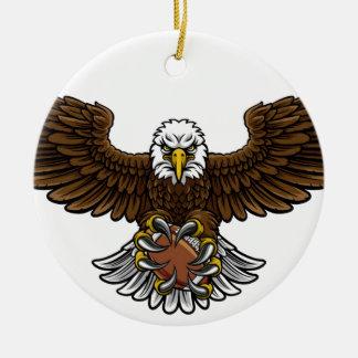 Ornement Rond En Céramique Le football américain d'Eagle folâtre la mascotte