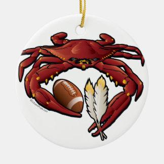 Ornement Rond En Céramique Le football rouge de crabe de Washington