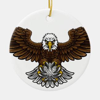 Ornement Rond En Céramique Le golf d'Eagle folâtre la mascotte