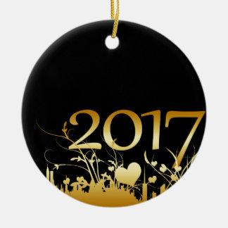 Ornement Rond En Céramique Le graphique de 2017 nouvelles années
