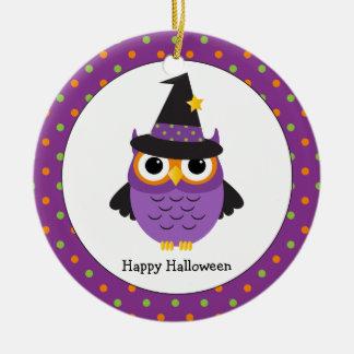 Ornement Rond En Céramique Le hibou mignon de Halloween badine l'ornement