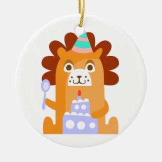 Ornement Rond En Céramique Le lion avec la partie attribue génial stylisé