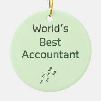 Ornement Rond En Céramique Le meilleur comptable du monde avec des symboles