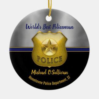 Ornement Rond En Céramique Le meilleur souvenir de photo du policier du monde