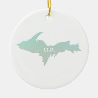 Ornement Rond En Céramique Le Michigan U.P. Ornament