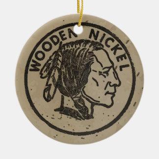 Ornement Rond En Céramique Le nickel principal indien en bois, ajoutent le