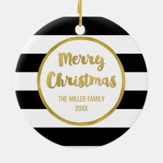 Ornement Rond En Céramique Le noir barre la photo de Joyeux Noël d'or
