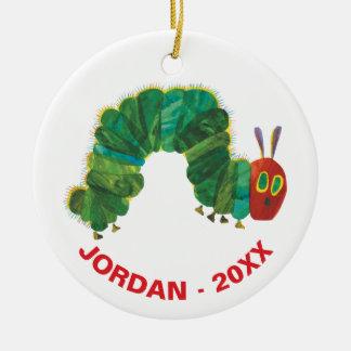 Ornement Rond En Céramique Le nom et l'année très affamés de Caterpillar |