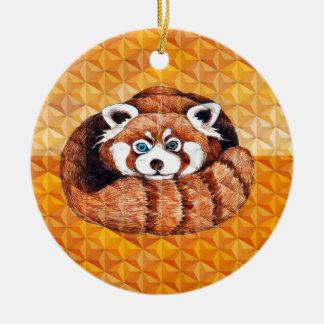 Ornement Rond En Céramique Le panda rouge concernent le cubisme orange
